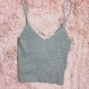 LA Hearts beige ribbed tank sweater crop top